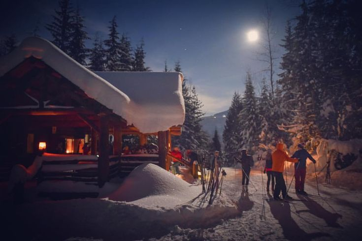 """172 Likes, 1 Comments - Revelstoke Mountaineer (@revelstoke_mountaineer) on Instagram: """"A very bright, cold blue moon contrasted nicely with the warm orange lanterns, making headlamps…"""""""