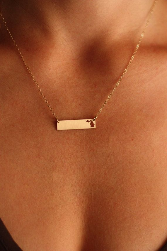 Gold filled state necklace in popular horizontal bar style, with personalized engraving available by IvyByDesign on Etsy.  Choose *Any State* from the dropdown! Please Note: Engraving is NOT referring to the state shape - the state is cutout; thanks!  More bar necklaces are shown here: https://www.etsy.com/shop/IvyByDesign/search?search_query=bar+necklace  ✤ If personalizing, please give us the information in the Note to Seller box in the shopping cart. ✤…