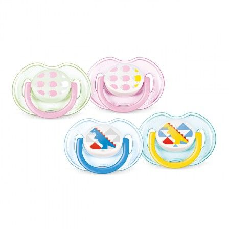 Philips AVENT Classic Silicone Soother, bright, colourful designs for every age. Philips AVENT orthodontic, collapsible and symmetrical teats respect the natural development of your baby's palate, teeth and gums. All Philips AVENT Soothers are made up of silicone and are taste and odour-free.