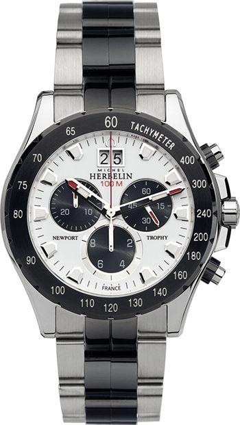 Montre Michel Herbelin Newport Trophy 36670/BNA21 Homme - Quartz - Chronographe - Bracelet et Cadran en Acier inoxydable Noir et Argent - Date
