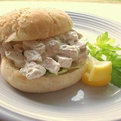 Basic Chicken Salad  -1/2 cup mayonnaise -1 tablespoon lemon juice -1/4 teaspoon ground pepper  -2 cups chicken,chopped  -1 stalk celery, chopped