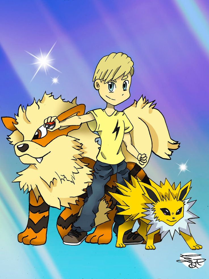 Daniel with his Arcanine and Jolteon by Ccjay25.deviantart.com on @DeviantArt