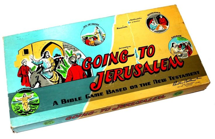 Vintage Going To Jerusalem Bible Board Game Parker Brothers 1955 New Testament #ParkerBrothers