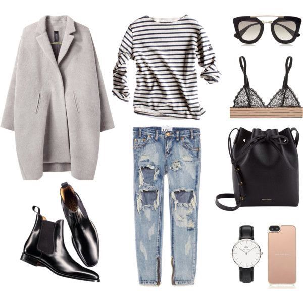 Minimal chic: gray coat, stripped jersey, ripped jeans, black ankle boots &…