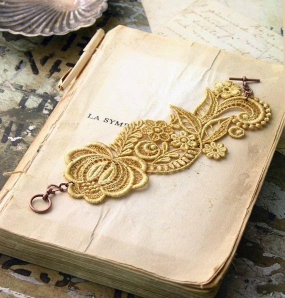 lace bracelet cuff RHEA muted saffron by whiteowl on Etsy, $25.00