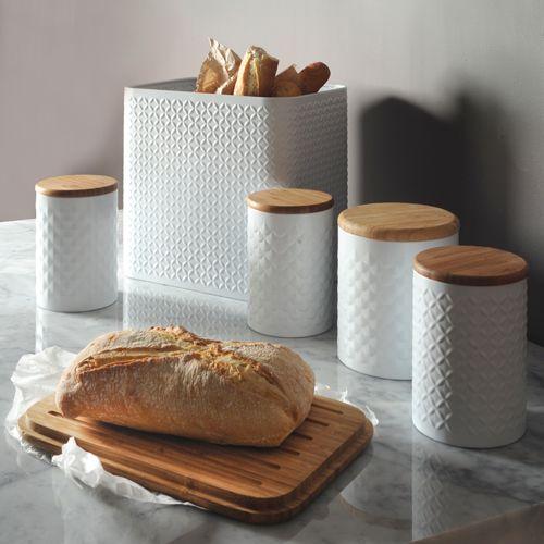 Boîte à pain en métal embossé blanc et couvercle bambou Typhoon