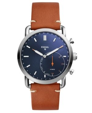 Fossil Q Men's Commuter Brown Leather Strap Hybrid Smart Watch 42mm - Brown
