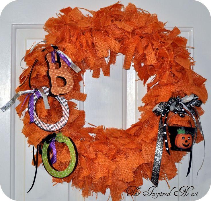 The Inspired Nest: Burlap Halloween Wreaths: Inspiration Nests, Holidays Idea, Rag Wreaths, Halloween Fal Idea, Halloween Burlap Wreaths, Burlap Rag, Orange Burlap, Halloween Wreaths, Burlap Halloween