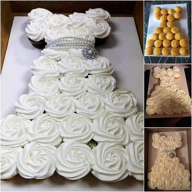 Bridal Shower Wedding Dress Cupcake Cake | Pinspired Creations – How to Make a Wedding Dress Cupcake Cake
