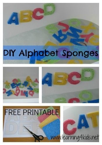 Learning activities in the bath- homemade alphabet sponge letters. Free printable to use as a guide to make your own.