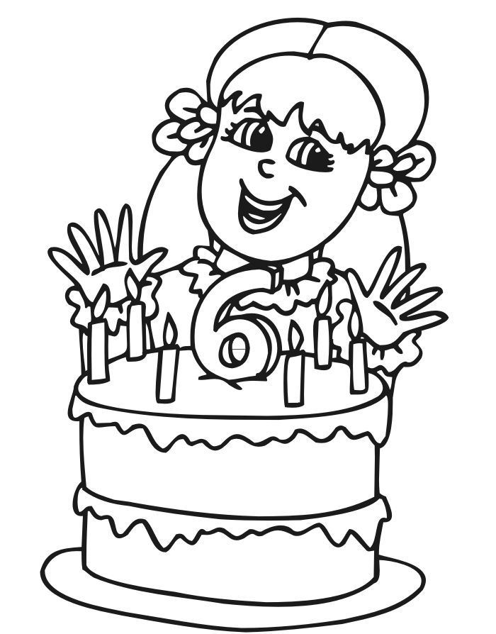 coloring pages happy 6 birthday this 6 year old birthday girl is ready to eat - Birthday Coloring Pages Girls