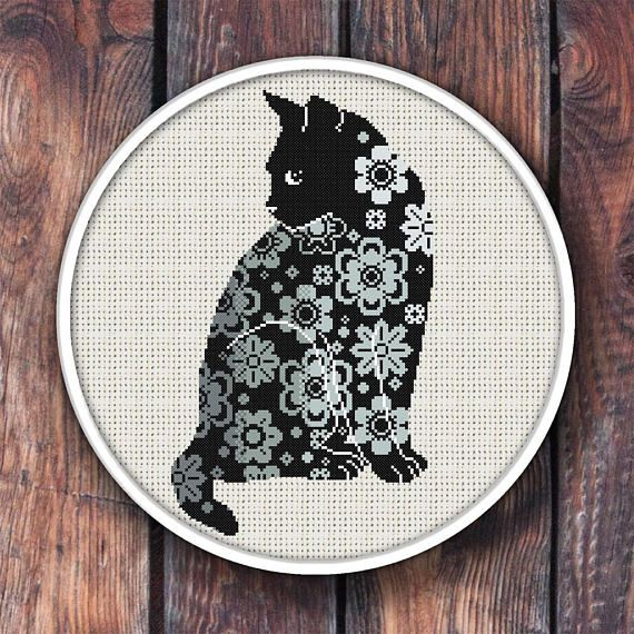 BOGO FREE. Floral Cat Cross Stitch Pattern.#crossstitchpattern  #crossstitchchart #countedcrossstitch  #moderncrossstitch.
