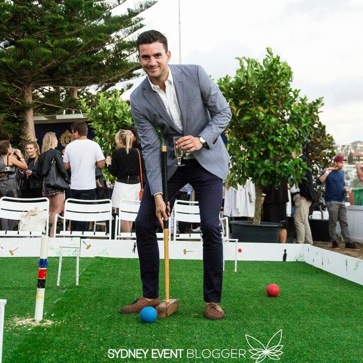 Steve Flood (My Kitchen Rules winner) playing croquet at the Royal Croquet Club VIP launch last night (24 November 2016). The Royal Croquet Club is an 11-day lifestyle festival on Bondi Beach running from 24th November to 4th December. The event has lots of food vendors and music artists playing