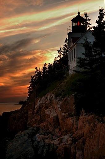 The Bass Harbor Lighthouse at sunset.  Bass Harbor Head Lighthouse, Bass Harbor, Maine, New England, USA