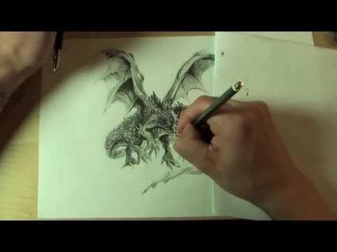 WIE ZEICHNET MAN EINEN DRACHEN !!! HOW TO DRAW A DRAGON !!! ONLINE ZEICHENKURS - YouTube