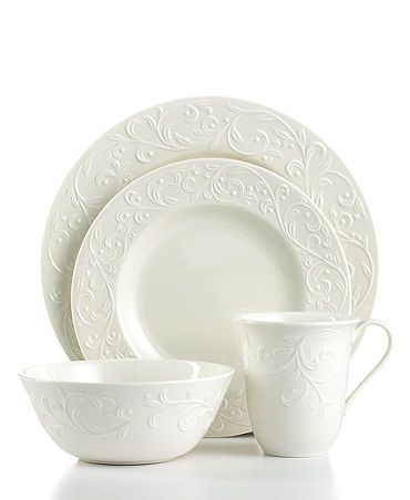 lenox dinnerware opal innocence carved 4 piece place setting casual dinnerware setsfine - White Dinnerware Sets