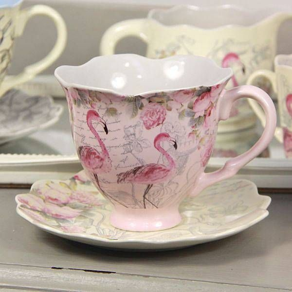 Flamingo Tea Cup And Saucer by lisa angel homeware and gifts @ Not on the high street