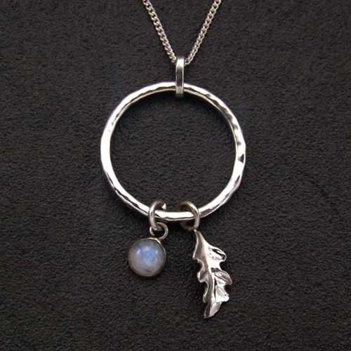 Sterling Silver Moonstone Pendant With Oak Leaf by FabledSoulShop