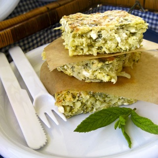 Oven omelette w/zucchini, potatoes and mint:) from gourmed.gr