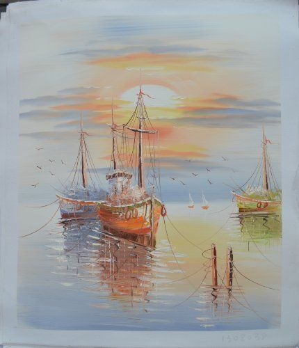 "Seaside Boats on Sunset Oil Painting Size 20x24"" by Landscape Oil Painting, http://www.amazon.com/dp/B00BOJITPE/ref=cm_sw_r_pi_dp_J2CXrb1VXEMNE"