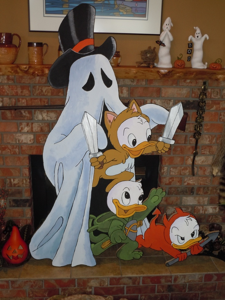 Huey,Duey and Luey-Halloween yard art made 2012