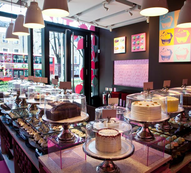 hummingbird bakery. The most amazing cakes. It's impossible to go past without buying one.: