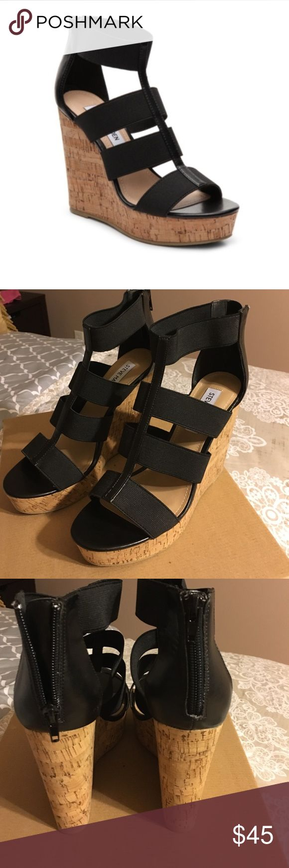 """Steve Madden black wedges The Selinah wedge sandal is a must-have addition to your sandal collection. This platform sandal from Steve Madden gives you a versatile look and the perfect touch to any casual outfit! Faux leather and elastic upper Back zipper closure 1½"""" platform, 4½"""" cork wedge heel Synthetic sole No box. Steve Madden Shoes Wedges"""