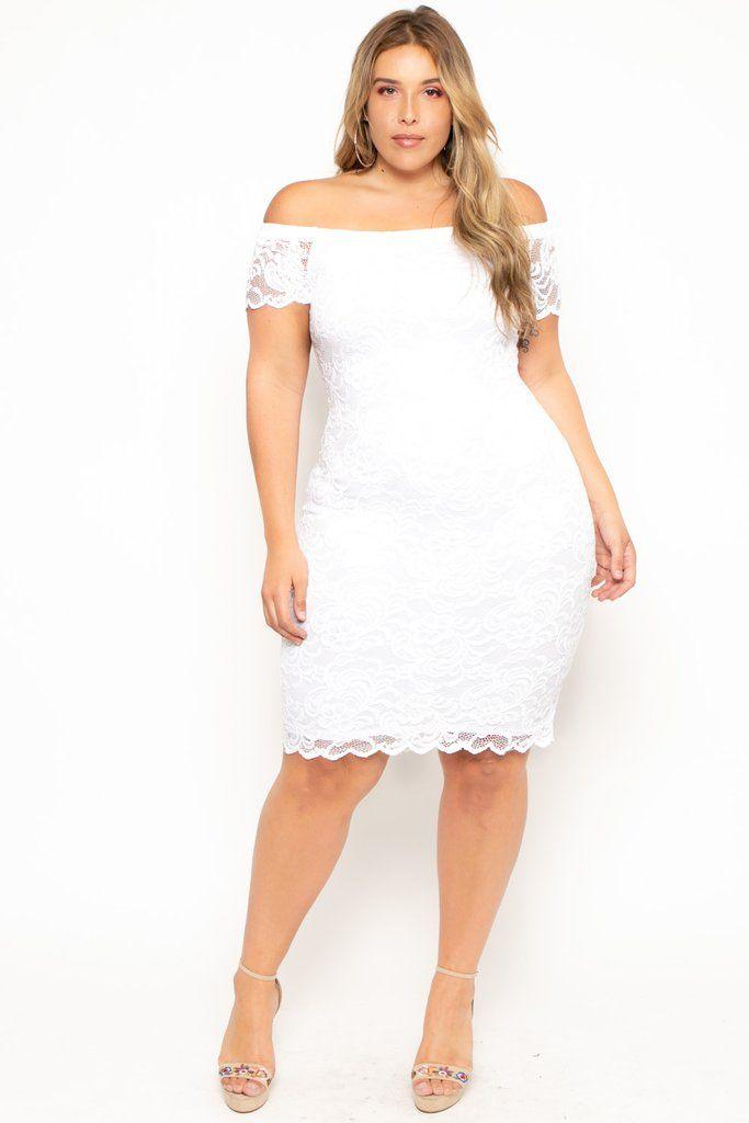 Plus Size Off The Shoulder Lace Bodycon Dress White In 2020 White Lace Bodycon Dress Lace Bodycon Dress White Bodycon Dress