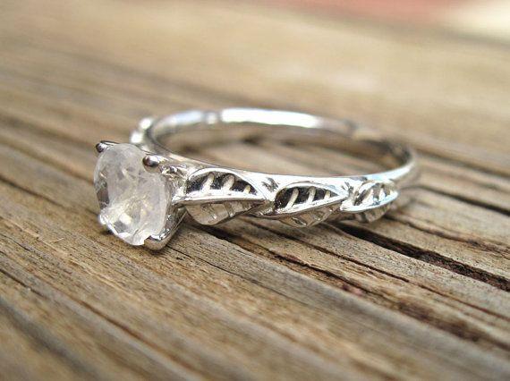 Moonstone Engagement Ring Leaf Engagement Ring by Benati on Etsy