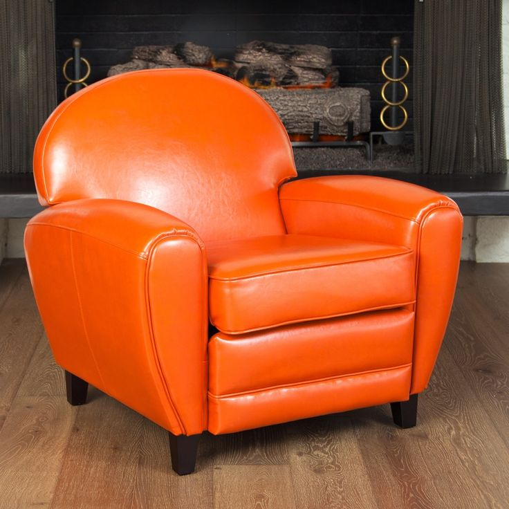 Oversized Burnt Orange Leather Club Chair | Overstock.com Shopping - Great Deals on Living Room Chairs