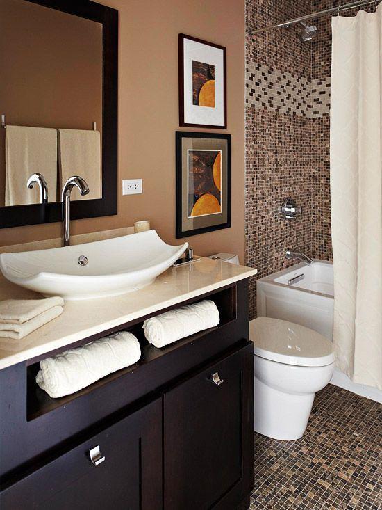 I'm into bathrooms :)Decor, Small Bathroom, Dreams, Black Bathroom, Bathroom Remodeling, Sinks, Bathroom Ideas, Brown Bathroom, Master Bathroom