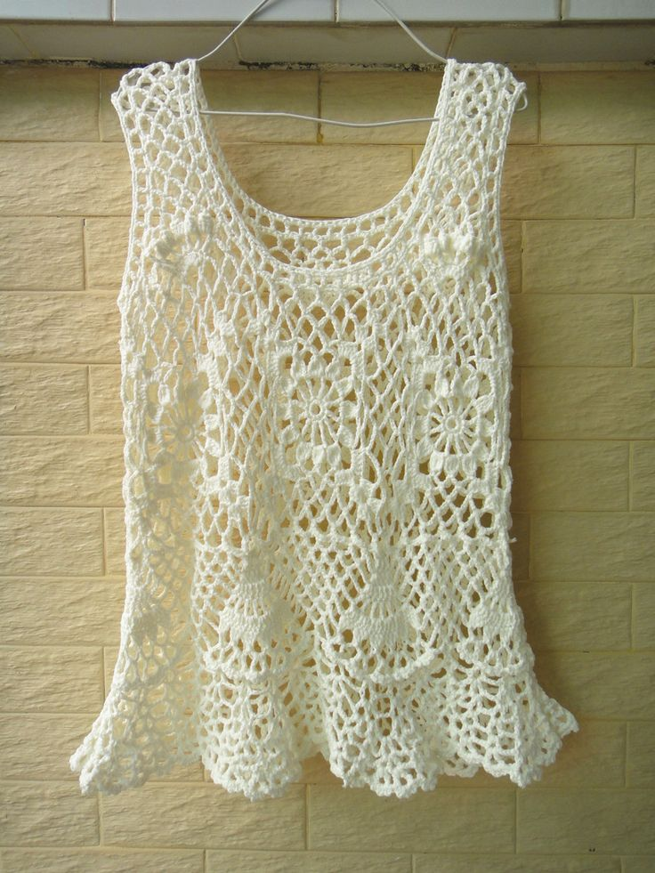 BOHO HANDMADE CROCHET TANK WOMEN SUMMER RUFFLE TOP ...