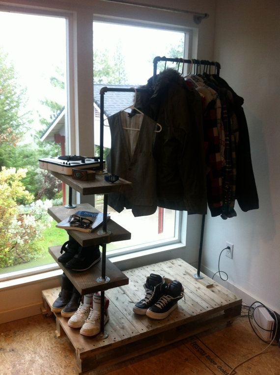 Industrial Modern clothing rack by weekendproject on Etsy, $300.00