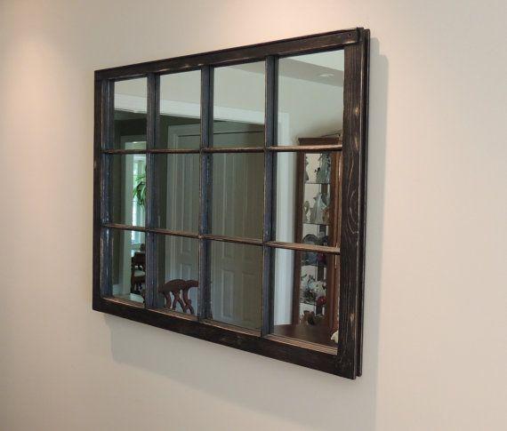 Vintage Window Frame Mirror 40 Quot X 31 Quot Black Distressed