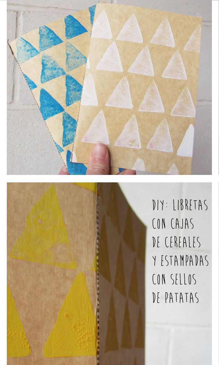Libretas recicladas y estampadas con sellos de patata, lee más aqui: http://molalachiquilla.blogspot.com.ar/ #blog #diy #stamp