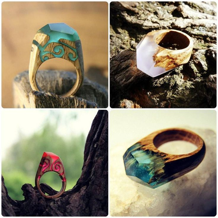 A little history - our first rings of wood and jewelry resin :-) #greenwood #greenwoodring #ring #magicring #secretring #woodring #waterfall #resinring