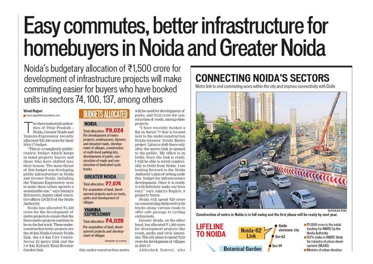Easy commutes, better infrastructure for homebuyers in #Noida and #GreaterNoida by Hindustan Times