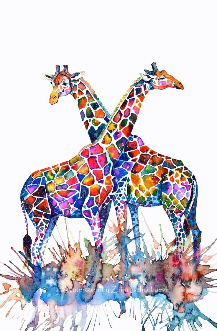 Giraffes, Watercolour painting by Zaira Dzhaubaeva | Artfinder
