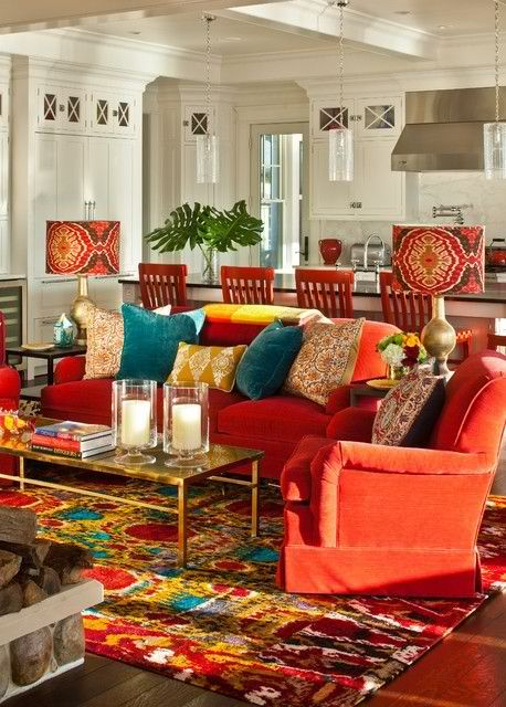 Red Teal Yellow Living Room Brown Cream Curtains And The Couches Rug Are A Little Too Much For Me But I Like Some Of Accent Pieces Kbhomes Home Style Decor