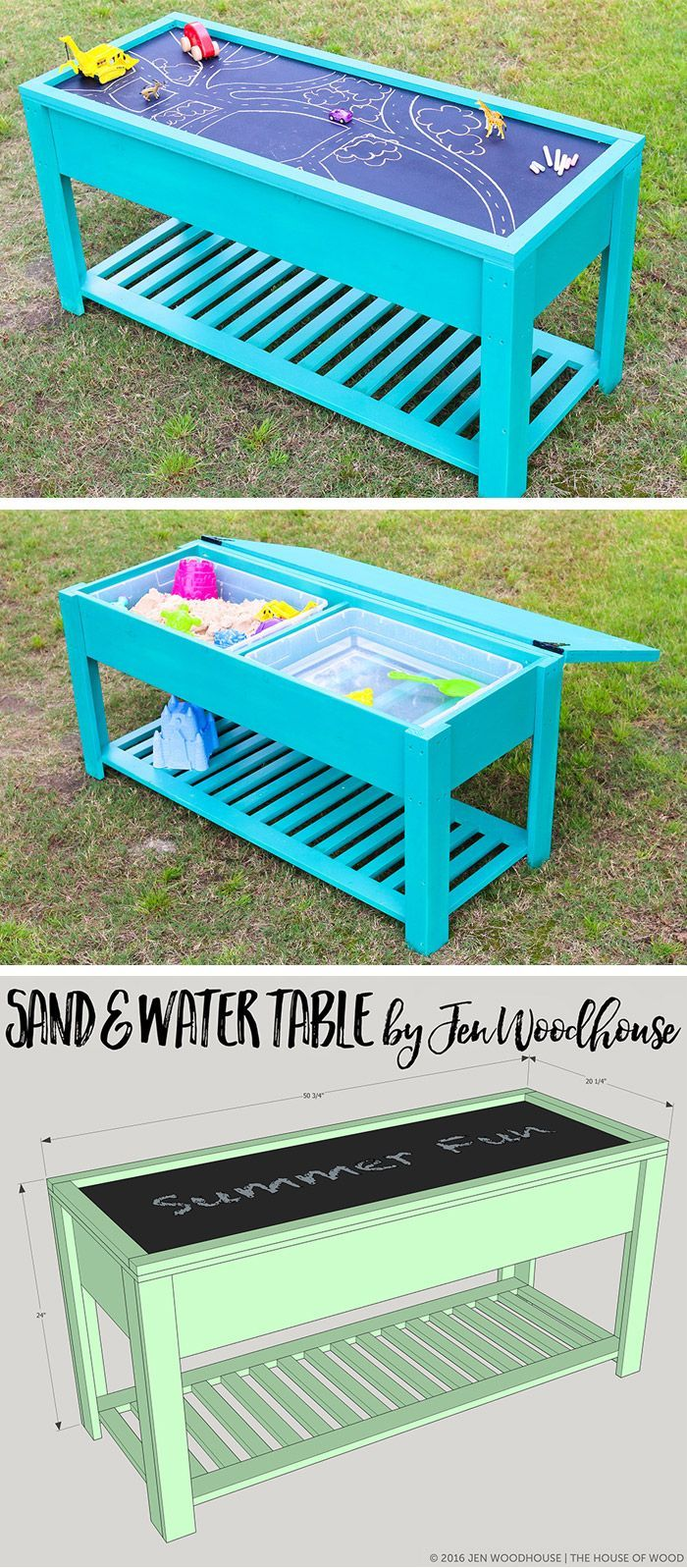 Learn how to build a fun DIY sand and water table for your kids! Free plans by Jen Woodhouse