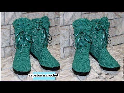Botas tejidas a crochet para dama parte 1 Tejiendo con Patito. - YouTube