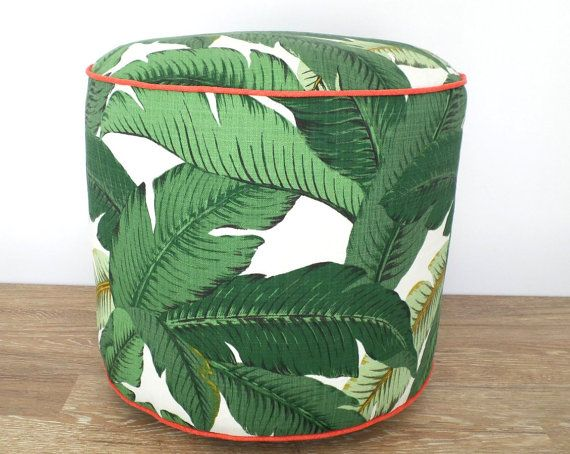 Green pouf ottoman banana leaf outdoor pouf swaying palms