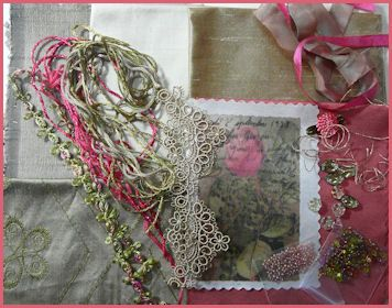 Rose Postcard Image Crazy Patch Pack  Rust / Pink Tones