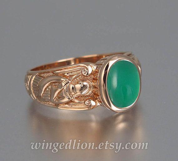 GUARDIAN ANGELS 14k rose gouden ring met groene Onyx door WingedLion