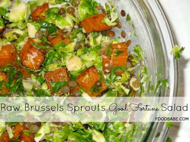 "Raw Brussels Sprouts Salad (not so sure about the ""good fortune"" part, but this is good for your body!)"