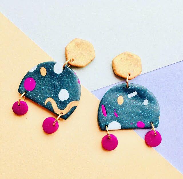 Funky Geometric Polymer Clay Earrings. Funky Statement Earrings. Memphis earrings. Colourful 80s earrings.