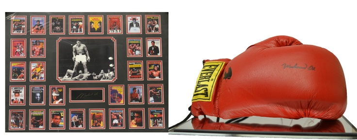 Bid on Muhammad Ali autographed red Everlast boxing glove, including certifcate of authenticity from The Sportsman's Gallery, and autographed commemorative picture frame with Sports Illustrated Magazine covers.  http://www.ebay.com/itm/Muhammad-Ali-Autographed-Red-Everlast-Boxing-Glove-/261010547718?pt=LH_DefaultDomain_0=item3cc570e406