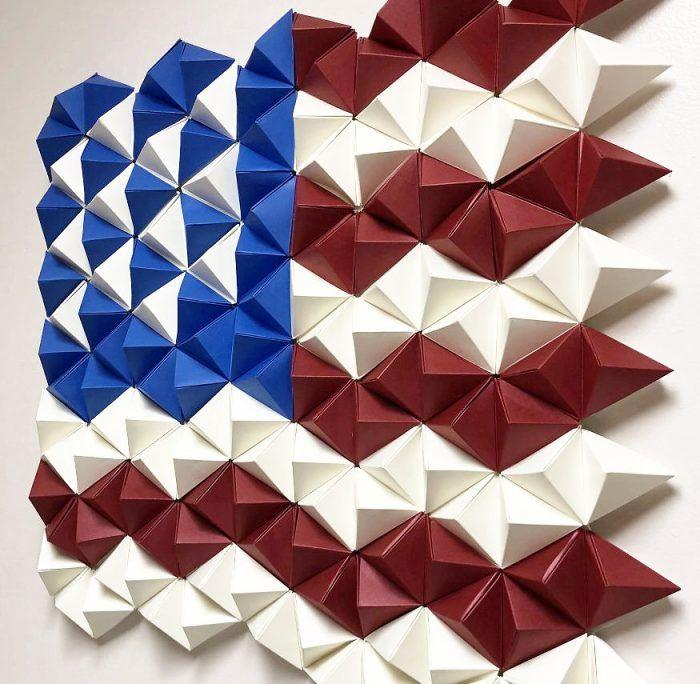 3d Paper American Flag Origami Wall Art Paperpapers Blog Origami Wall Art Paper Wall Art Diy American Flag Wall Art