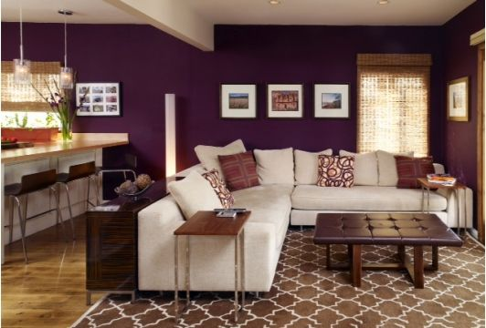 Beautiful Living Room with Tan Sectional-Home and Garden Design Ideas