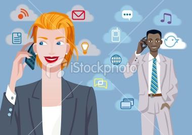 Jesús Sanz. Caucasian businesswoman and black businessman talking on mobile phone.